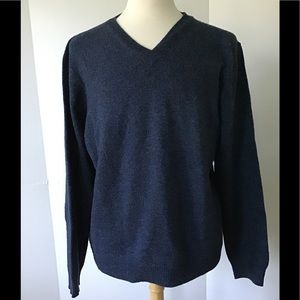 Club Room by Charter Club Blue V Neck Wool Sweater